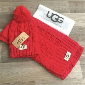 UGG Winter Set Hat Scarf New With Tags Red
